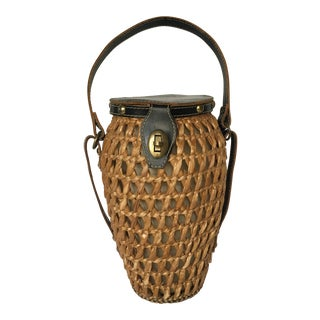 Vintage Woven Picnic Bottle Carrier