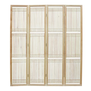 Chinese Raw Finish Wood Panel Room Divider