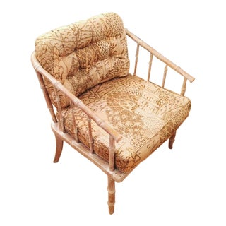 Cushioned Faux Bamboo Pickled Chair