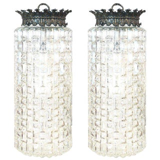 Pair of Glass Pendant Lights