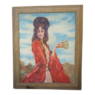 Vintage Spanish Woman Painting