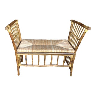 Cabana-Bench With Woven Rush Seat