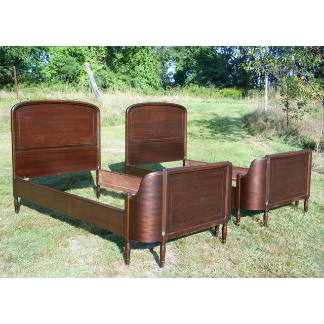 Antique Pair Art Deco Mahogany Twin Curved Beds Vintage Bedroom ...