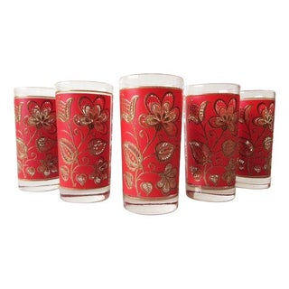 Vintage Libbey Red Flower Collins Glasses