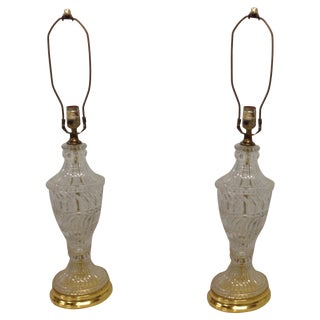 Hollywood Regency Crystal & Brass Lamps - A Pair