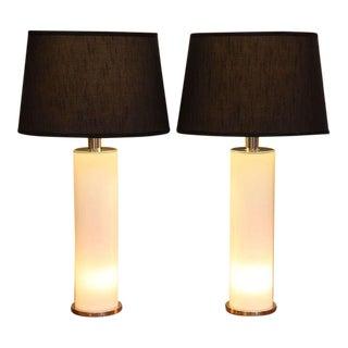 Sleek Italian Nickel & Acrylic Column Table Lamps