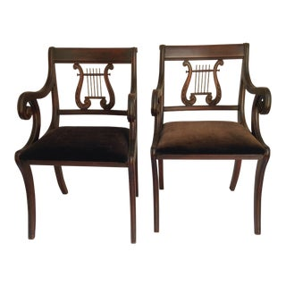 Duncan Phyfe Style Chairs with Laurel Back - A Pair
