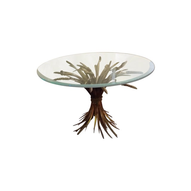 Hollywood Regency Gilt Sheaf of Wheat End Table - Image 1 of 4