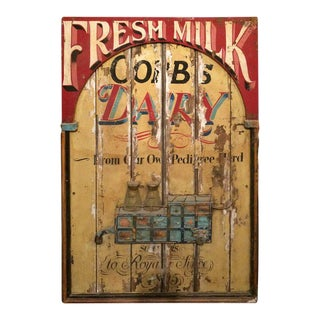Vintage Hand Painted Fresh Milk Sign