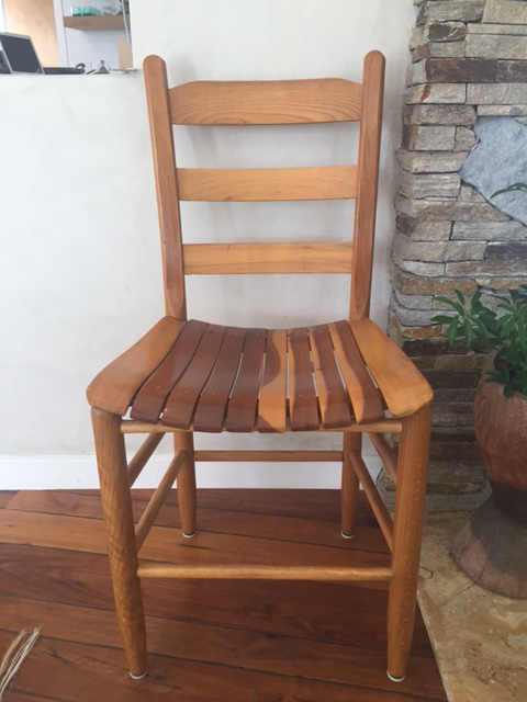 Country Style Slatted Wood Chairs Set Of 4 Chairish