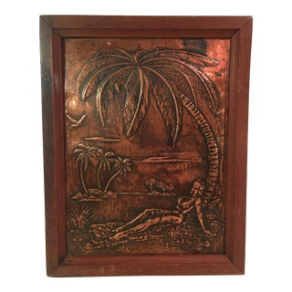 Mid-Century Modern Copper Etching Nude Lady on Beach