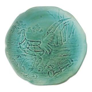 19th Century Choisy Le Roi Blue Majolica Pheasant Plate