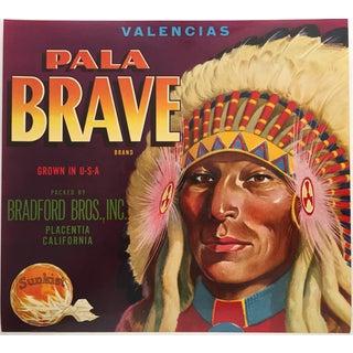 Mid-Century Sunkist Pala Brave Orange Crate Label
