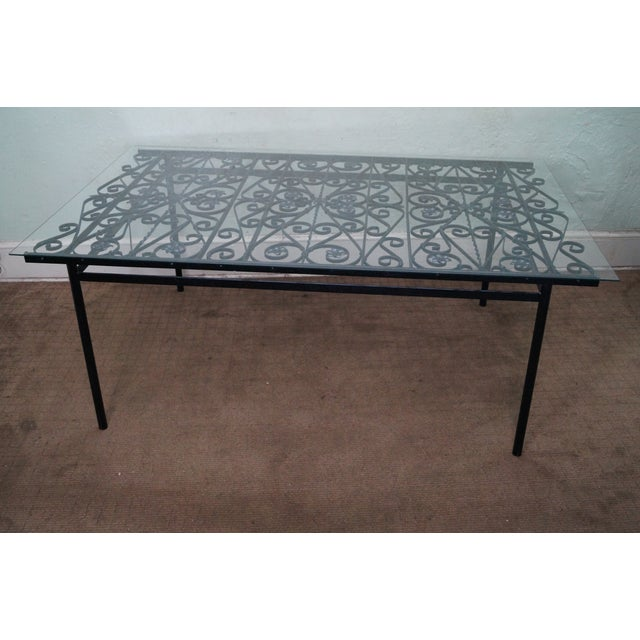 Image of Antique Black Wrought Iron Glass Top Dining Table