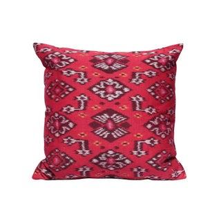 Boho Karma Cherie Handwoven Red Ikat Pillow