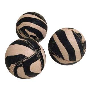 Zebra Printed Leather Balls - Set of 3
