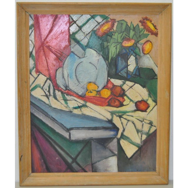 Image of Mid Modern Still Life Oil Painting C.1950's