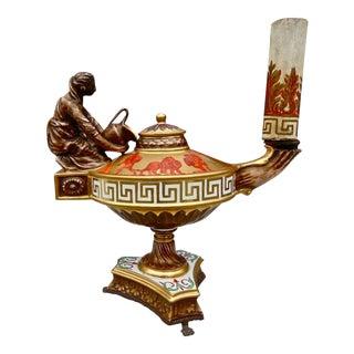 Italian Neoclassical Porcelain Oil Burner Lamp