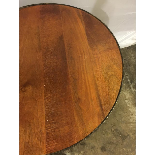 Modern Drum Table With Antique Metal Trim - Image 3 of 4