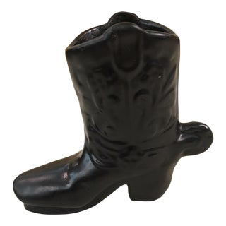 Ceramic Black Cowboy Boot Toothpick Holder