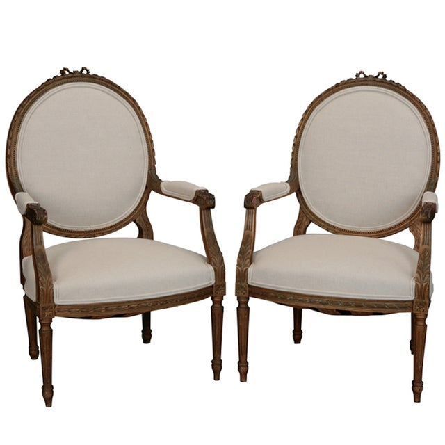 Louis XVI Oval Back Gilded Fauteuils - A Pair - Image 1 of 9