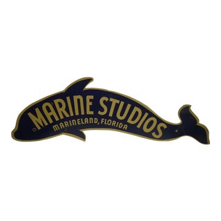 "Vintage ""Marine Studios"" Sign From Marineland Florida Circa 1930"