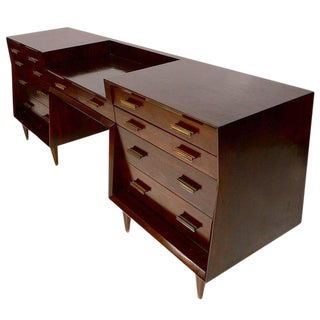 Mexican Modernist Double Dresser with Desk Attributed to Eugenio Escudero