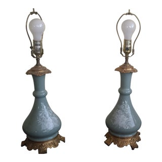 English Celadon Green Table Lamps - A Pair