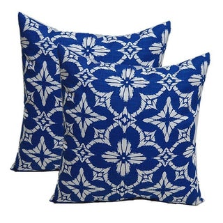 Cobalt Blue White Geometric Sunburst Pillows