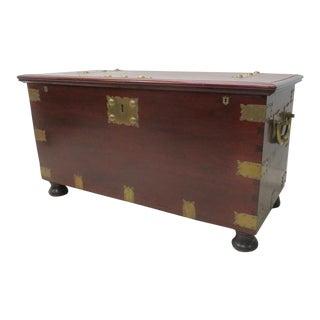 Victorian Mahogany Brass Bound Dovetailed Trunk