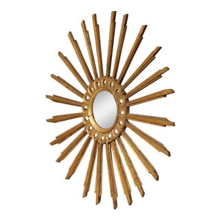 Early 20th Century French Sunburst Mirror with Original Gilt Finish