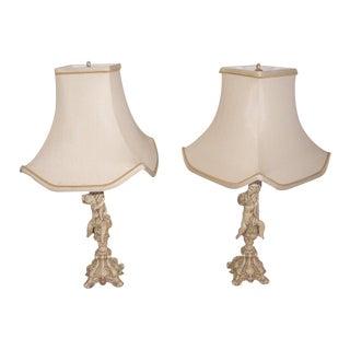 Metal Rewired Cherub Lamps With Custom Shades