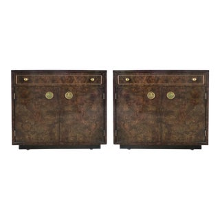 Mastercraft Burl Wood & Brass Night Stands- A Pair