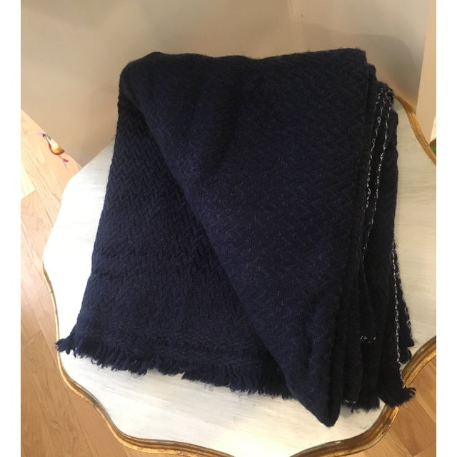 Extra Large Navy Cashmere Throw - Image 2 of 6