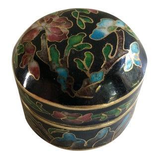Vintage Floral Cloisonné Pill Box