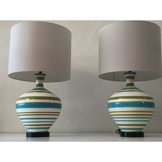 Mid-Century Hand Painted Lamps - A Pair - Image 3 of 5
