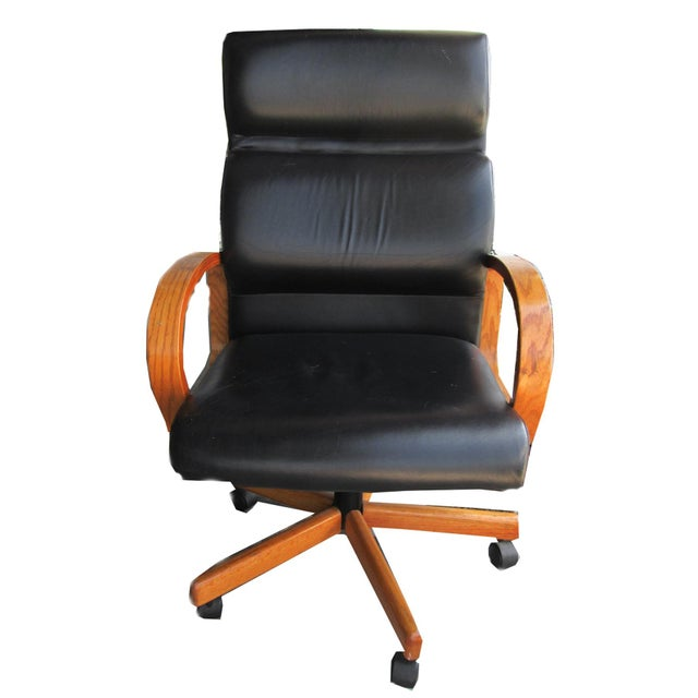 Black Leather Executive Office Chair - Image 2 of 5