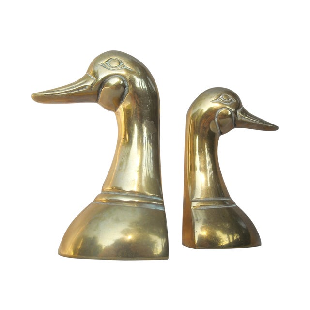 Image of Mid-Century Brass Duck Head Bookends - A Pair