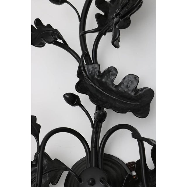 Pair of Five-Light Wall Sconces in Black with Acorn Leaf Motif - Image 2 of 9