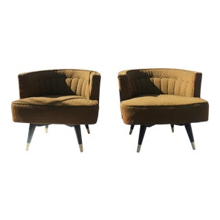 Mid-Century Modern Barrel Back Swivel Lounge Chairs- A Pair