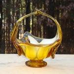 Image of Murano Amber Blown Glass Basket