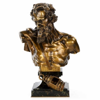 """After Claudius Marioton Cast by E. Colin """"Bust of Diogenes"""" Bronze Sculpture"""