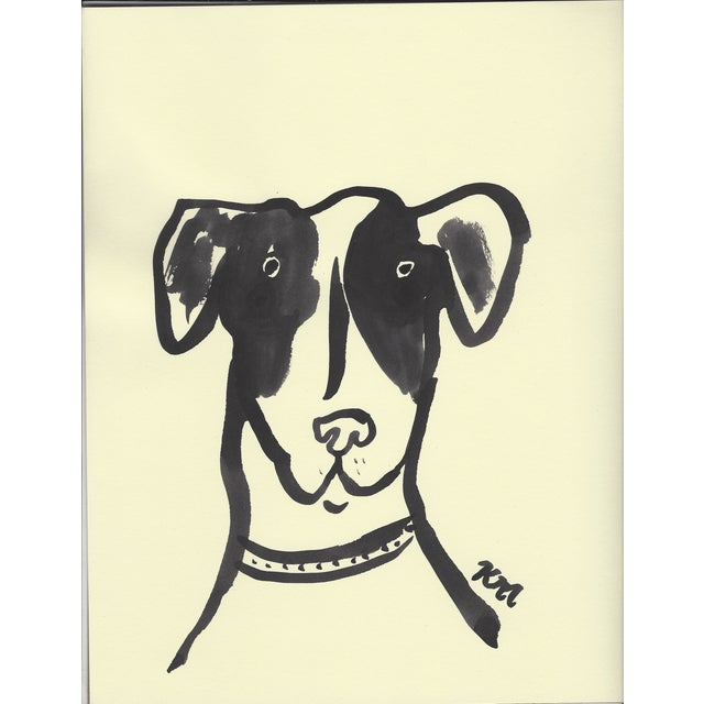 """Image of """"3 Pups"""" India Ink Paintings - Set of 3"""