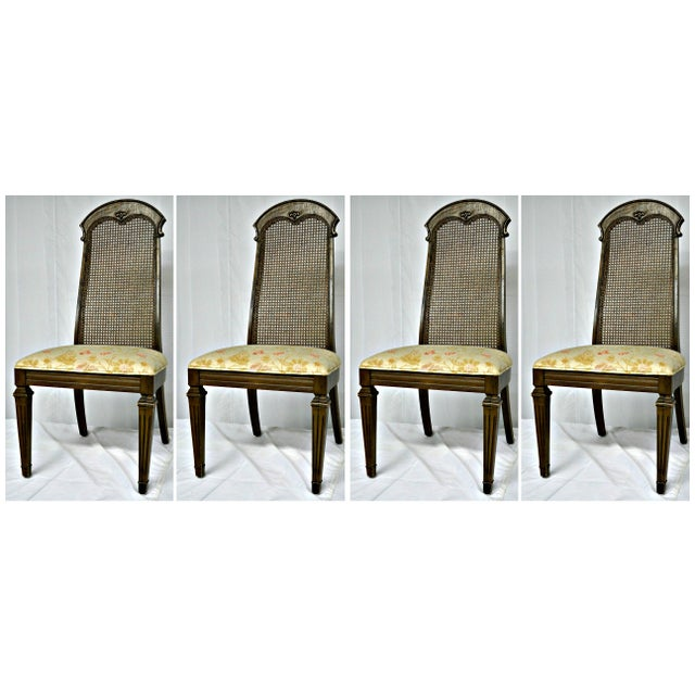 Wicker High Back Wooden Chairs- Set of 4 - Image 3 of 6