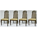 Image of Wicker High Back Wooden Chairs- Set of 4