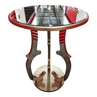 Gold/Bronze Round Beveled Mirror Pub Table