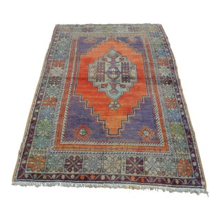 "Turkish Faded Anatolian Area Rug -- 3'8"" x 6'7"""