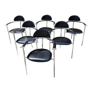Mid-Century Modern Arrben Italy Stiletto LEather & Chrome Chairs - Set of 6