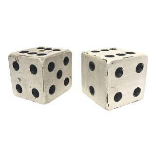 Vintage Painted Wooden Dice Bookends - A Pair