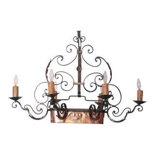 Early 20th Century 6-Light Iron Chandelier with Center Copper Jardiniere